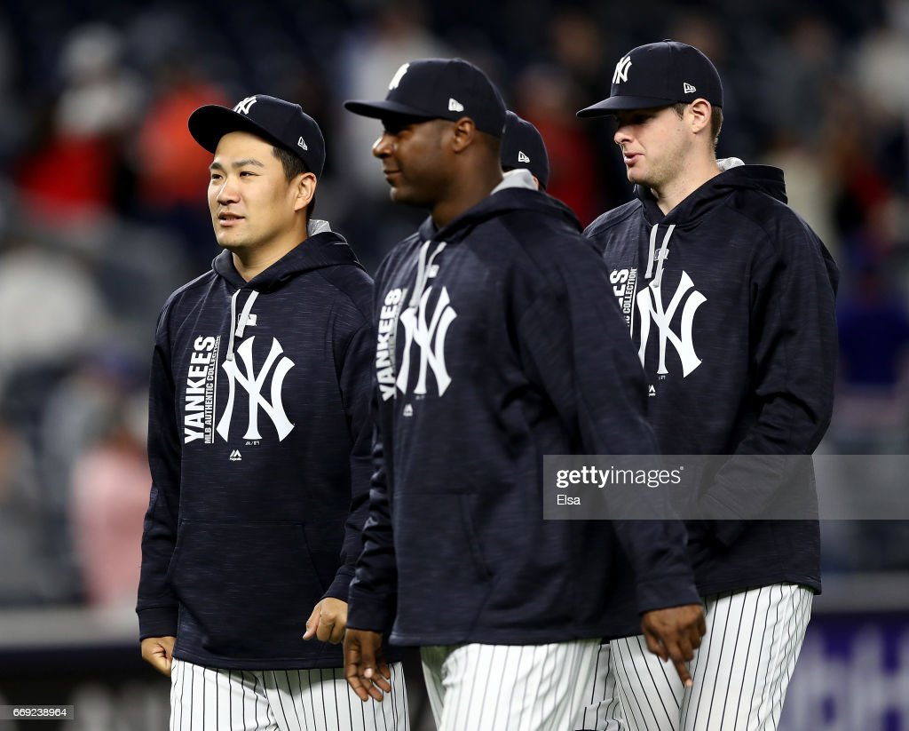 Masahiro Tanaka #19 of the New York Yankees walks off the field after the 9-3 win over the St. Louis Cardinals on April 16, 2017 at Yankee Stadium in the Bronx borough of New York City.