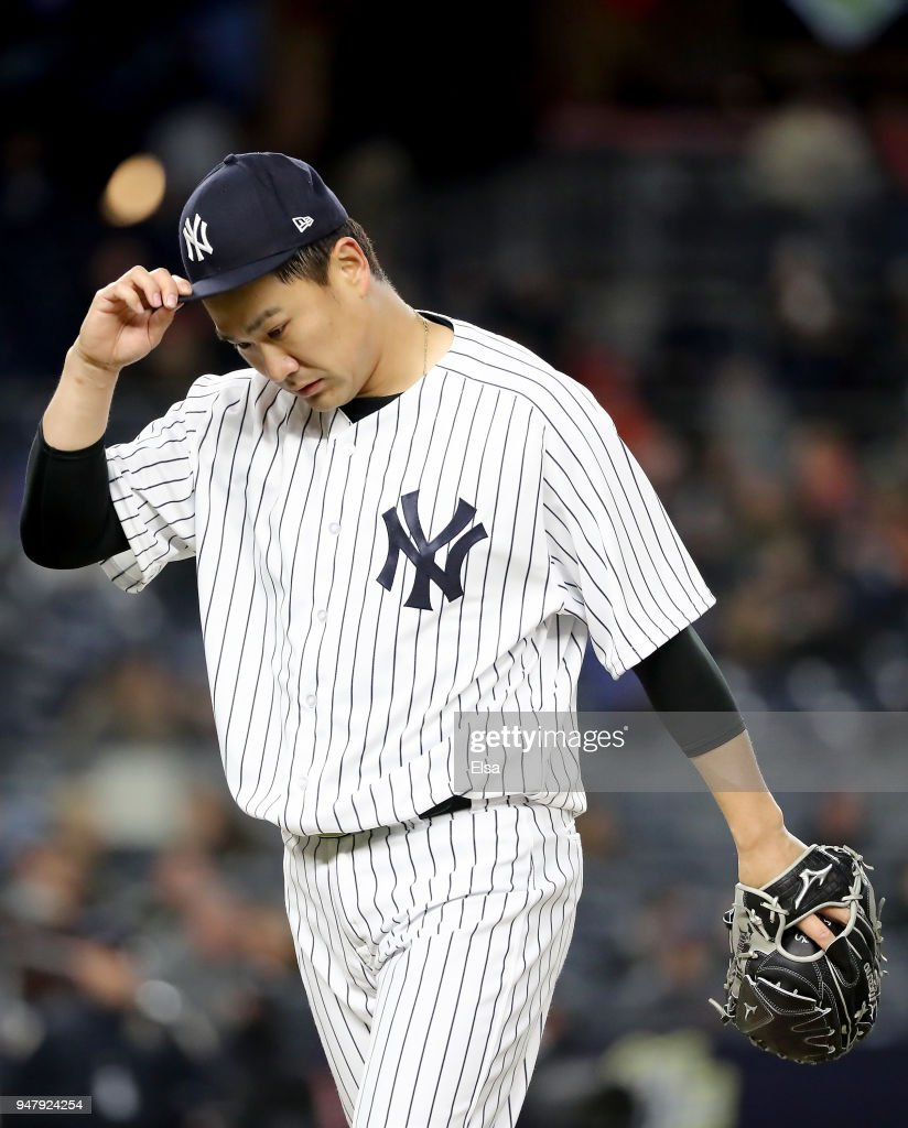Masahiro Tanaka #19 of the New York Yankees walks off the field after the fifth inning against the Miami Marlins at Yankee Stadium on April 17, 2018 in the Bronx borough of New York City.