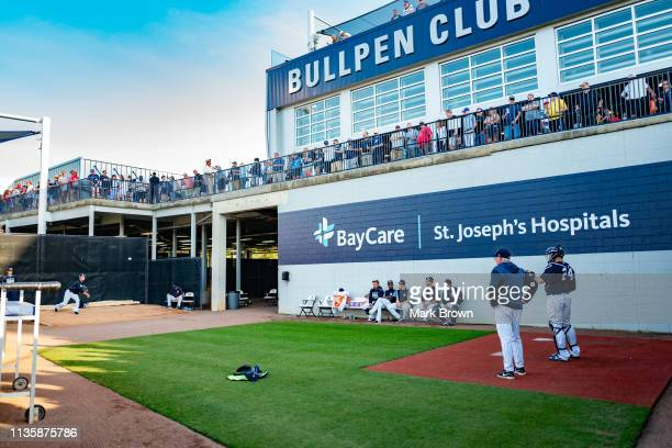 Masahiro Tanaka of the New York Yankees warms up in the bullpen before the spring training game against the Philadelphia Phillies at Steinbrenner...