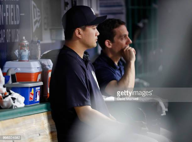 Masahiro Tanaka of the New York Yankees watches from the dugout during the seventh inning against the Cleveland Indians at Progressive Field on July...
