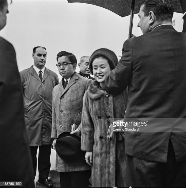 Masahito, Prince Hitachi, and Hanako, Princess Hitachi of Japan, during a visit to the UK, 12th November 1965. Prince Hitachi is the younger son of...