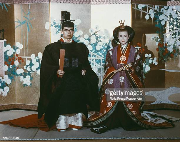 Masahito Prince Hitachi and Hanako Tsugaru pictured together in ceremonial dress in Japan on the day of their wedding 30th September 1964