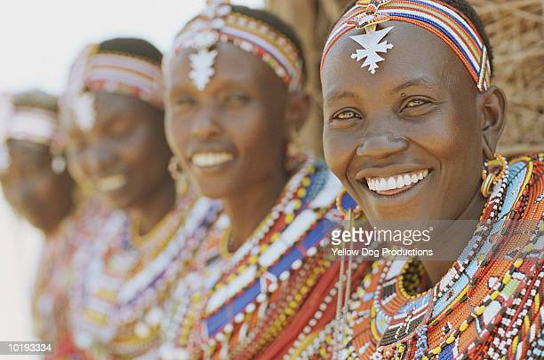 masai and samburu women outside hut, close up - african tribal culture stock pictures, royalty-free photos & images
