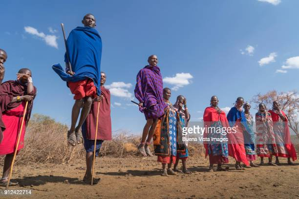 Masai people performing a traditional dance.