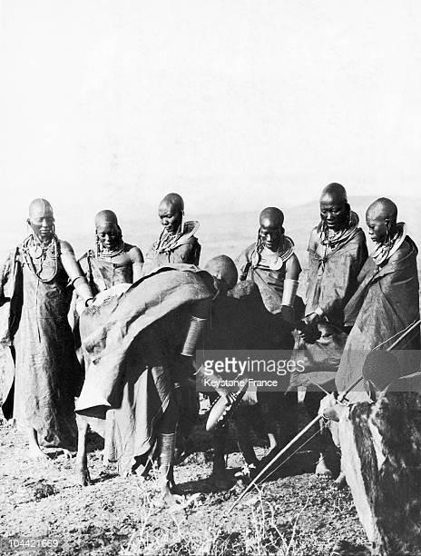 Masai Preparing What They Drink In Kenya Circa 1935