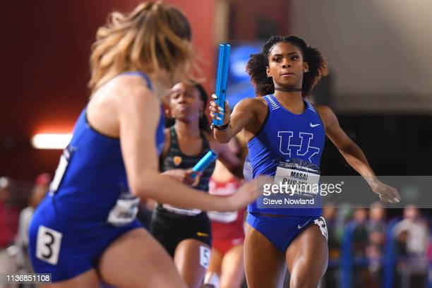 Masai Russell of the Kentucky Wildcats competes in the 4x400 meter relay during the Division I Men'u2019s and Women'u2019s Indoor Track Field...