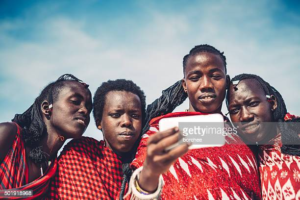 masai taking a selfie - warrior person stock photos and pictures