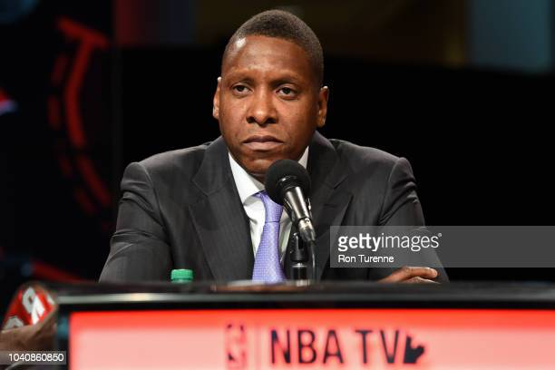 Masai Ujiri of the Toronto Raptors speaks to the media at a press conference after media day on September 24, 2018 at the Air Canada Centre in...