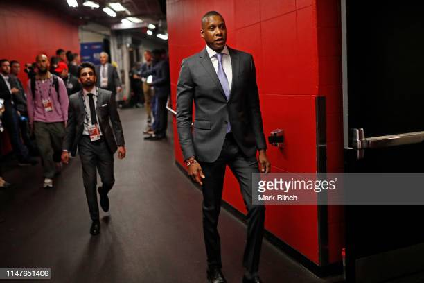 Masai Ujiri of the Toronto Raptors walks to the court before Game Two of the NBA Finals against the Golden State Warriors on June 2, 2019 at...