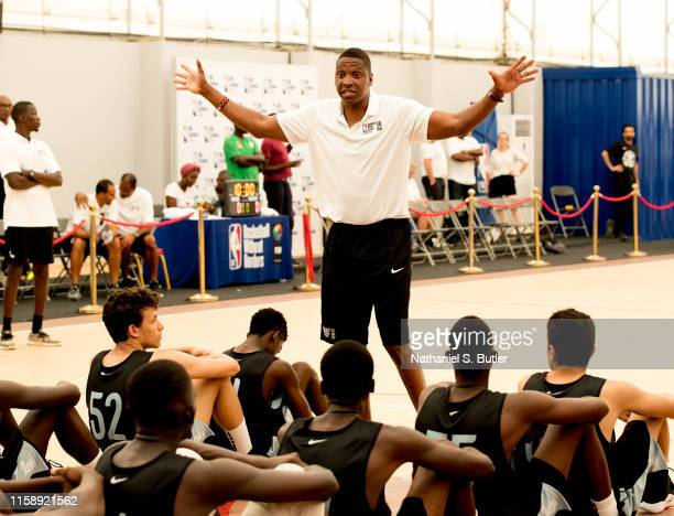 Masai Ujiri, President of Basketball Operations for the Toronto Raptors, participates during a NBA Academy Africa clinic on July 28, 2019 in Saly,...