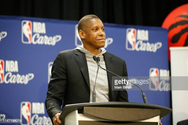 Masai Ujiri, President of the Toronto Raptors at the 2019 NBA Finals Cares Legacy Project as part of the 2019 NBA Finals on May 31, 2019 at the...