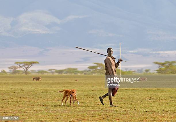 masai warrior with dead gazelle - dead dog stock pictures, royalty-free photos & images