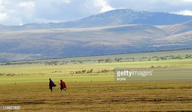 Masai warriors going home