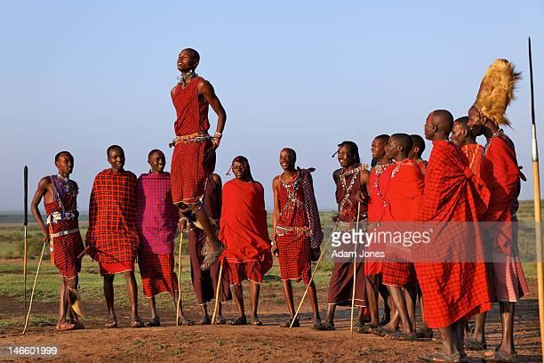Masai warriors traditional jumping