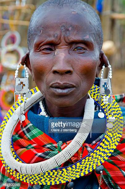 Masai woman wearing her beaded necklaces and earrings