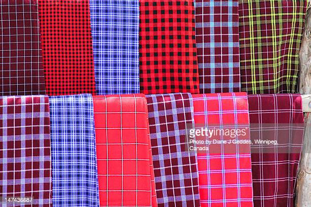 masaii blankets - eastern african tribal culture stock photos and pictures