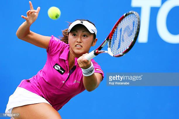 Masaki Doi of Japan in action during her women's singles first round match against Varvara Lepchenko of the United States during day two of the Toray...