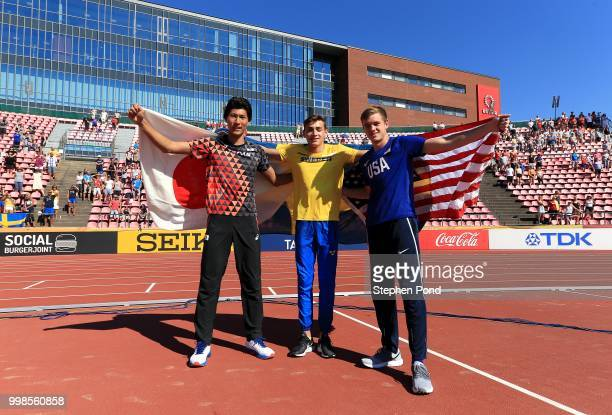 Masaki Ejima of Japan Armand Duplantis of Sweden and Zachery Bradford of The USA celebrate winning medals in the final of the men's pole vault on day...