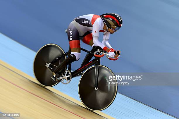 Masaki Fujiti of Japan competes in the Men's Individual Cycling C3 Pursuit qualification on day 2 of the London 2012 Paralympic Games at Velodrome on...