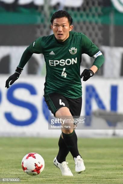 Masaki Iida of Matsumoto Yamaga in action during the JLeague J2 match between Matsumoto Yamaga and Kamatamare Sanuki at Matsumotodaira Park Stadium...