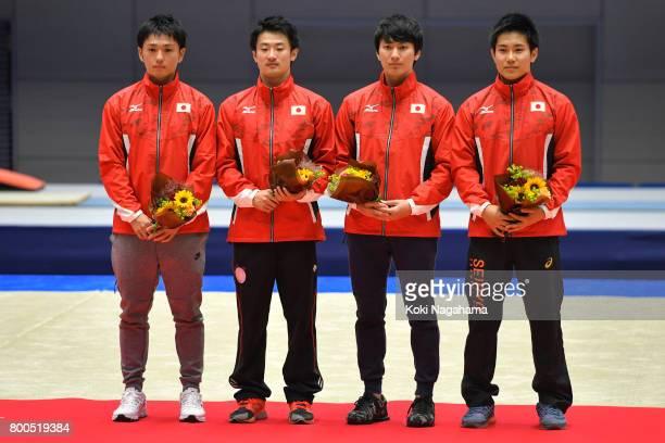 Masaki Ito Daiki Kishi Munetomo Ginga and Ryosuke Sakai pose for photographs as they selected as members of Japan national team after the day two of...