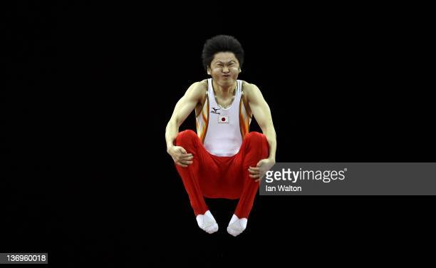 Masaki Ito of Japan in action during the Gymnastics Trampoline Olympic Qualification round at North Greenwich Arena on January 13 2012 in London...