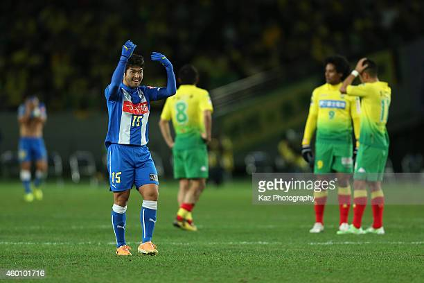 Masaki Miyasaka of Montedio Yamagata celebrates his team's promotion to the top division after their 10 win in the J1 Promotion PlayOff Final match...