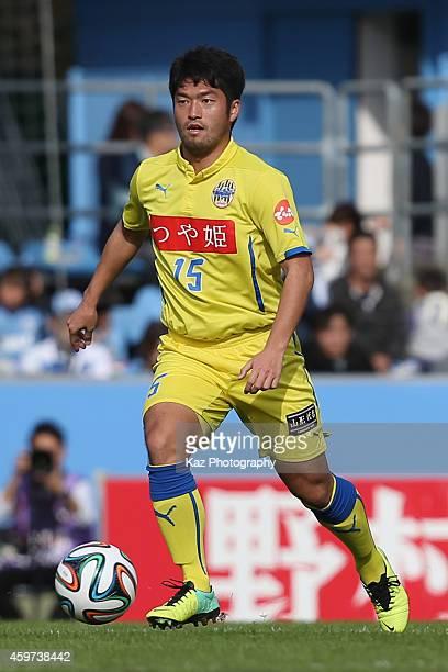 Masaki Miyasaka of Montedio Yamagata in action during the J1 Promotion Playoff semifinal match between Jubilo Iwata and Montedio Yamagata at Yamaha...