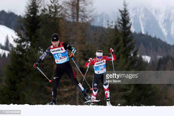 Masako Ishida of Japan and Katherine Stewart Jones of Canada compete in the Women's Cross Country 30k race during the FIS Nordic World Ski...