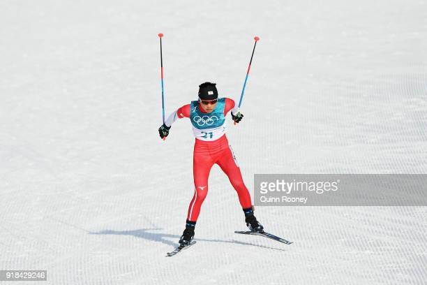 Masako Ishida of Japan competes during the CrossCountry Skiing Ladies' 10 km Free on day six of the PyeongChang 2018 Winter Olympic Games at Alpensia...