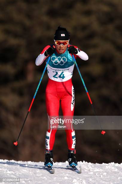 Masako Ishida of Japan competes during the Ladies' 30km Mass Start Classic on day sixteen of the PyeongChang 2018 Winter Olympic Games at Alpensia...