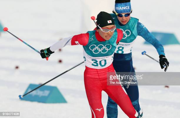 Masako Ishida of Japan competes in the Ladies Cross Country Skiing 75km 75km Skiathlon on day one of the PyeongChang 2018 Winter Olympic Games at...