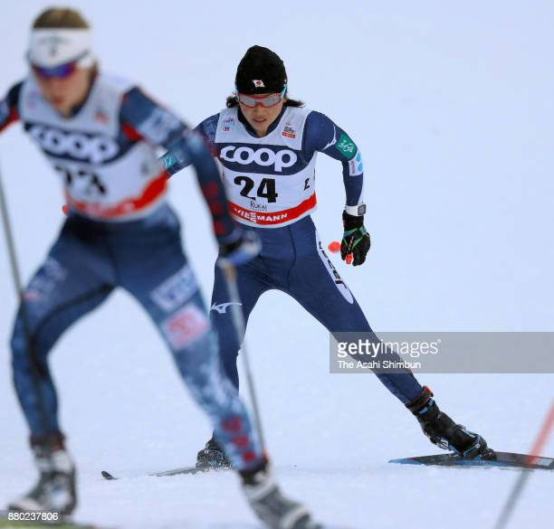 Masako Ishida of Japan competes in the the FIS Cross Country World Cup Ladies 10km Pursuit during day three of the Ruka Nordic on November 26 2017 in...