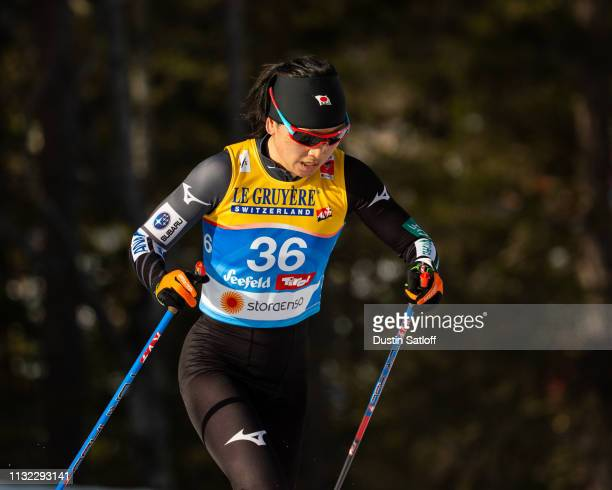 Masako Ishida of Japan competes in the Women's 10km Cross Country during the FIS Nordic World Ski Championships on February 26 2019 in Seefeld Austria