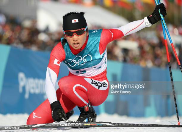 Masako Ishida of Japan crosses the finish line during the CrossCountry Skiing Ladies' 10 km Free on day six of the PyeongChang 2018 Winter Olympic...