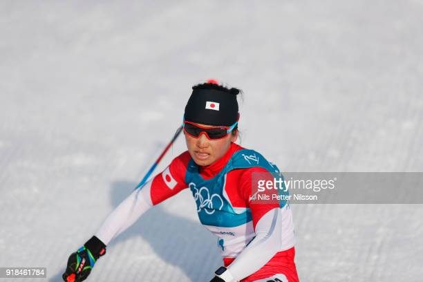 Masako Ishida of Japan during the women's 10k free technique Cross Country competition at Alpensia CrossCountry Centre on February 15 2018 in...