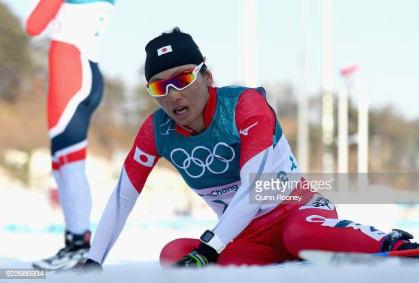 Masako Ishida of Japan reacts after the Ladies' 30km Mass Start Classic on day silx24xteen of the PyeongChang 2018 Winter Olympic Games at Alpensia...