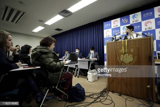 Masako Mori, Japan's justice minister, right, speaks during a news conference in Tokyo, Japan, on Monday, Jan. 6, 2020. Japan vowed to strengthen its...