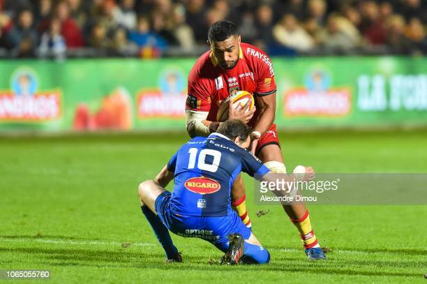 Masalosalo Tutaia of Perpignan during the Top 14 match between Perpignan and Castres at Stade Aime Giral on November 24 2018 in Perpignan France