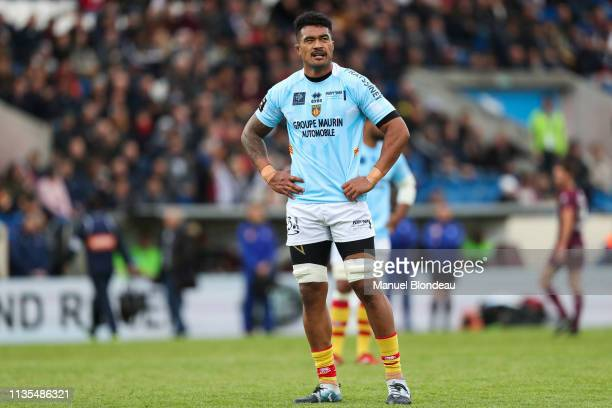 Masalosalo Tutaia of Perpignan during the Top 14 match between Bordeaux Begles and Perpignan at Stade ChabanDelmas on April 6 2019 in Bordeaux France