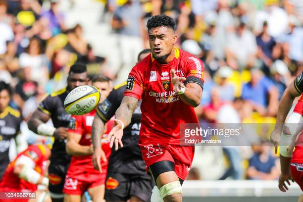 Masalosalo Tutaia of Perpignan during the Top 14 match between La Rochelle and Perpignan at Stade MarcelDeflandre on September 16 2018 in La Rochelle...