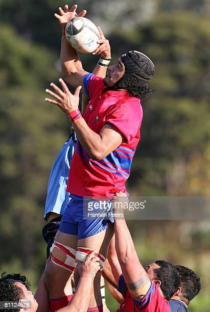 Masalosalo Tutaia of Suburbs wins lineout ball during the Alan McEvoy Memorial Trophy match between Suburbs and Teachers Eastern at Shadbolt Park on...