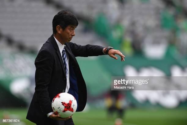 Masami Ihara of Avispa Fukuoka looks on during the JLeague J2 match between Tokyo Verdy and Avispa Fukuoka at Ajinomoto Stadium on October 28 2017 in...