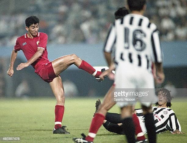 Masami Ihara of Japan in action during the friendly match between Japan and Partizan Belgrade at Mitsuzawa Stadium on July 20 1991 in Yokohama...