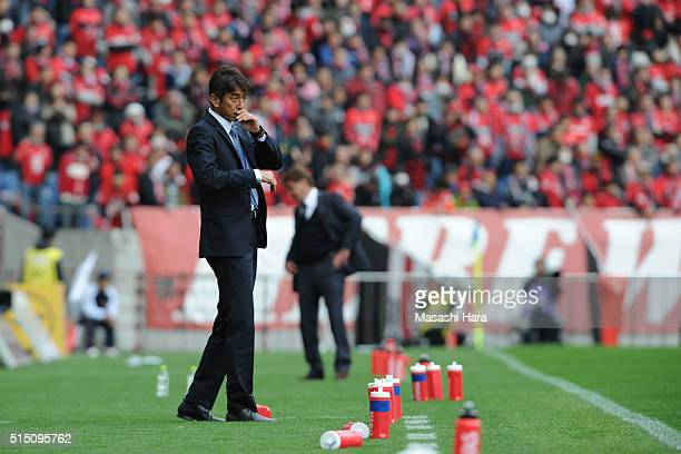Masami Iharacoach of Avispa Fukuoka looks on during the JLeague match between Urawa Red Diamonds and Avispa Fukuoka at the Saitama Stadium on March...