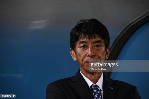 Masami Iharacoach of Avispa Fukuoka looks on prior to the JLeague J2 match between Yokohama FC and Avispa Fukuoka at Nippatsu Mitsuzawa Stadium on...