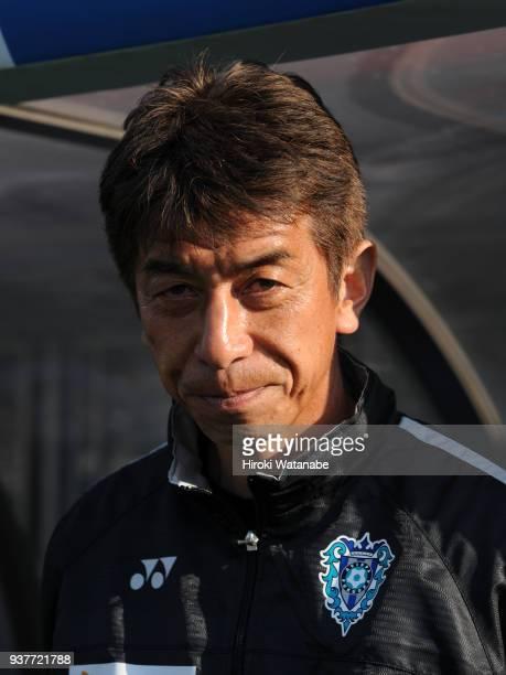 Masami Iharacoach of Avispa Fukuoka looks on prior to the JLeague J2 match between Omiya Ardija and Avispa Fukuoka at Nack 5 Stadium Omiya on March...