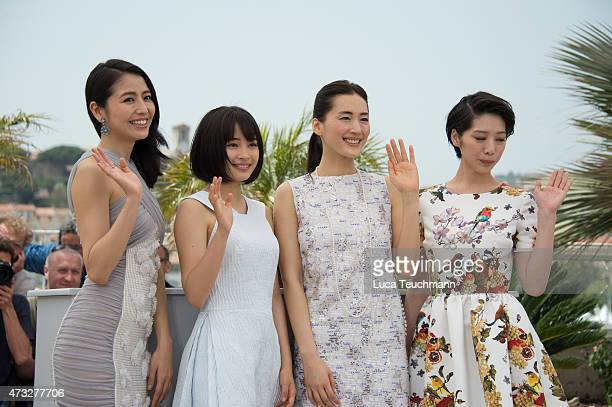 Masami Nagasawa Suzu Hirose Haruka Ayase and Kahoattend the 'Notre Petite Soeur' photocall during the 68th annual Cannes Film Festival on May 14 2015...