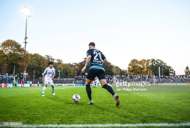 Masami Okada of SV Babelsberg 03 and Marvin Plattenhardt of Hertha BSC during the friendly match between Hertha BSC and the SV Babelsberg 03 at the...