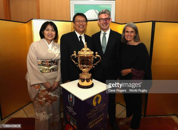 Masamich Saigo the Japan Ambassador poses with the United Ambassador Richard Morris along with their wives Eriko Saigo and Alison Morris as the Webb...